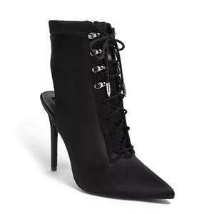 Black Pointed Lace-Up Cutout Stiletto Boots (Sz 8)